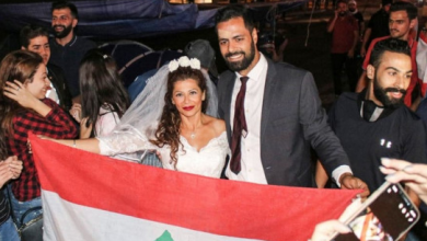 Photo of بالصور ملاك علوية ومحمد واحتفال الزفاف بساحة رياض الصلح