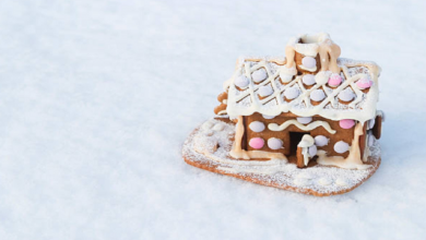 Photo of أخصائي بالمجهرأصغر منزل خبز الزنجبيل في العالم gingerbread مليء بمداخن ونوافذ وأبواب محددة بوضوح